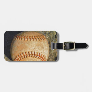 Vintage White Baseball red stitching Luggage Tag