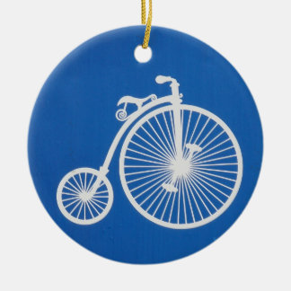 Vintage White Bicycle on Blue Ceramic Ornament