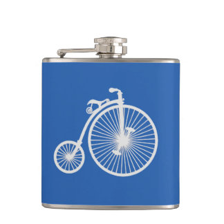 Vintage White Bicycle on Blue Hip Flask