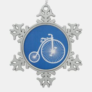 Vintage White Bicycle on Blue Snowflake Pewter Christmas Ornament