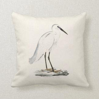 Vintage white black elegant heron bird cushion