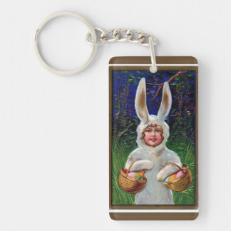 Vintage White Bunny Suit Easter Key Ring