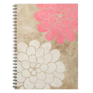 Vintage White Dahlia Floral Wedding Note Book