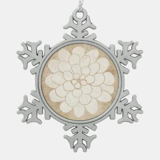Vintage White Dahlia Floral Wedding Pewter Snowflake Decoration