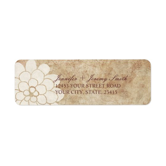Vintage White Dahlia Floral Wedding Return Address Label
