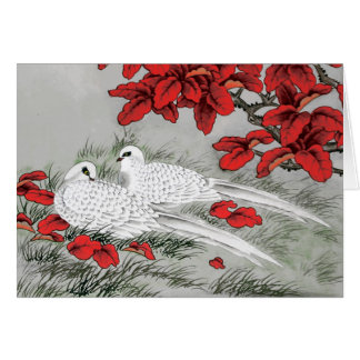 Vintage White Doves and Red Leaves on Gray Card