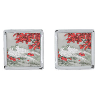 Vintage White Doves and Red Leaves on Gray / Grey Silver Finish Cuff Links