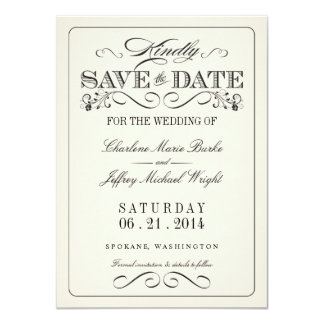 Vintage White Elegant Save the Date 11 Cm X 16 Cm Invitation Card