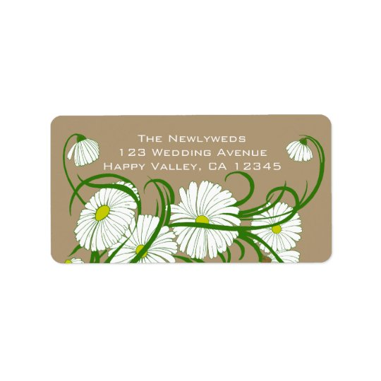 Vintage White Gerber Daisy Flowers Wedding Set Address Label