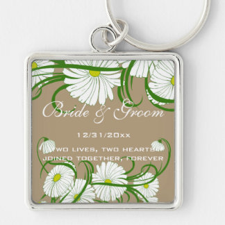 Vintage White Gerber Daisy Flowers Wedding Set Key Ring