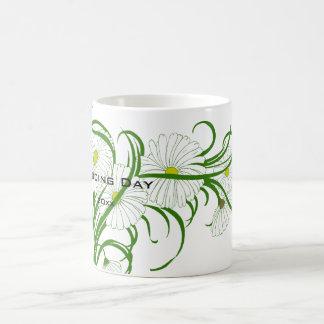 Vintage White Gerber Daisy Flowers Wedding Set Basic White Mug