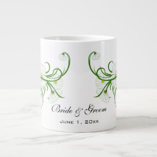Vintage White Gerber Daisy Flowers Wedding Set Jumbo Mug