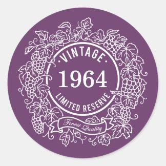 Vintage White Grapevine Wine Stamp, Add Birth Year Classic Round Sticker