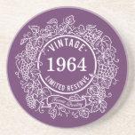 Vintage White Grapevine Wine Stamp, Add Birth Year Drink Coasters