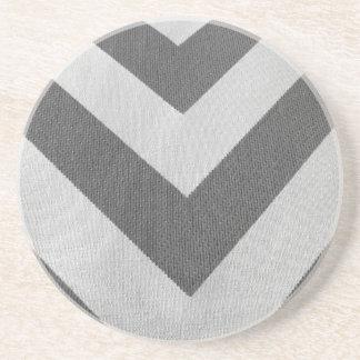 Vintage white gray texture chevron pattern coaster