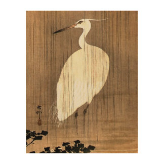 Vintage White Heron in the Rain Wood Wall Art