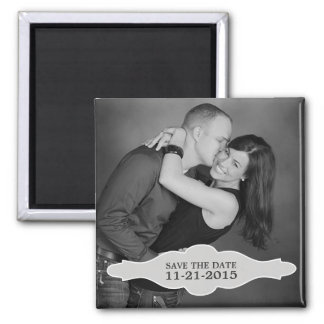 Vintage White LaBon Vie Photo Save the Date Magnet