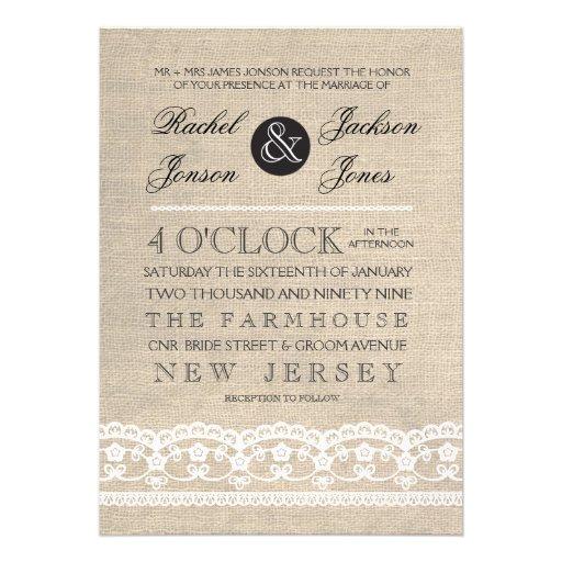 Vintage White Lace & Burlap Wedding Invitation