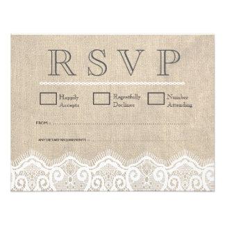 Vintage White Lace & Burlap Wedding RSVP Cards