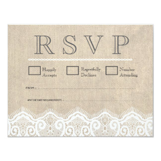 Vintage White Lace & Burlap Wedding RSVP Cards