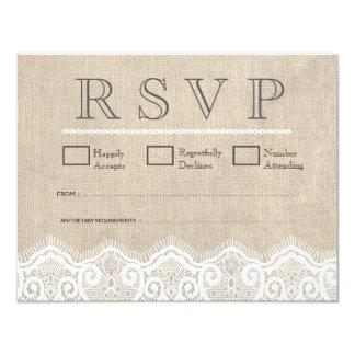 Vintage White Lace & Burlap Wedding RSVP Cards 11 Cm X 14 Cm Invitation Card