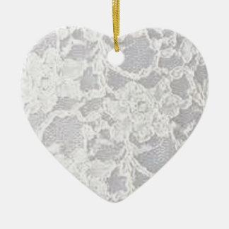 Vintage White Lace Ceramic Ornament