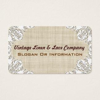 Vintage White Lace & Linen Business Cards
