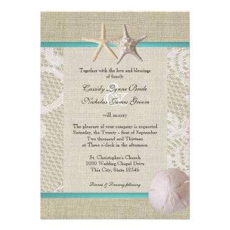 Vintage White Lace Ocean Romance Personalized Announcement