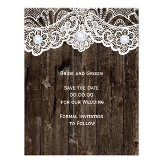 Vintage white lace old wood wedding Save the Date Announcement