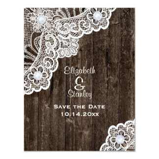 "Vintage white lace, old wood wedding Save the Date 4.25"" X 5.5"" Invitation Card"