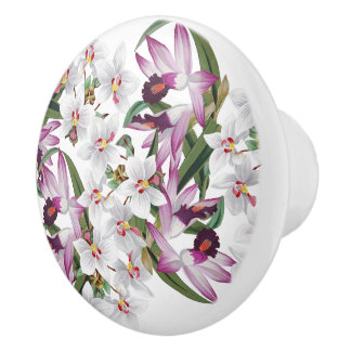 Vintage White Lavender Orchid Flowers Floral Knob