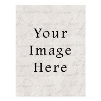 Vintage White Light Gray Script Text Parchment Postcard