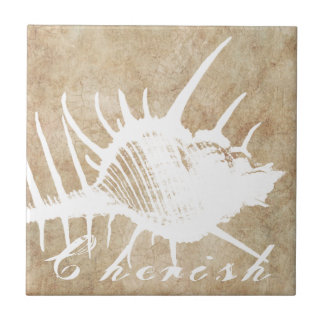 Vintage White Ocean Seahell Beach Small Square Tile