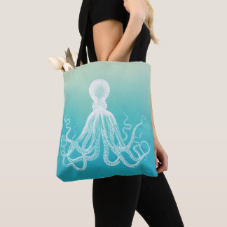 Vintage White Octopus Watercolor Aqua Blue Ombre Tote Bag