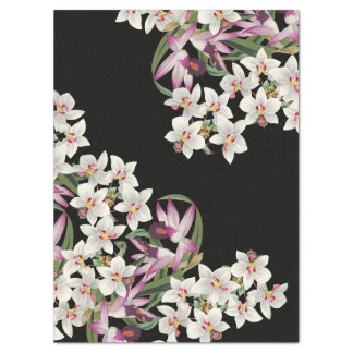 Vintage White  Orchid Flowers Tissue Paper