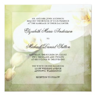 Vintage White Orchid Wedding Invitations