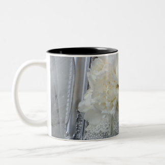 Vintage White Peonies Bridal Bouquet Two-Tone Coffee Mug
