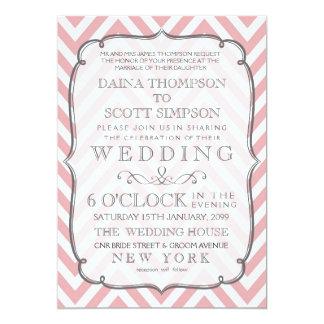 Vintage White & Pink Chevron Stripes Wedding 13 Cm X 18 Cm Invitation Card