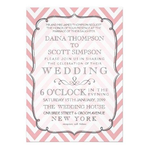 Vintage White & Pink Chevron Stripes Wedding Custom Invites