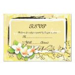 Vintage white plumeria ivy on yellow RSVP card 9 Cm X 13 Cm Invitation Card