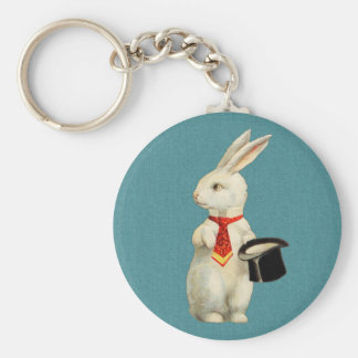 Vintage White Rabbit Basic Round Button Key Ring
