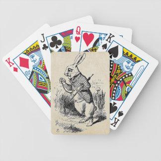 Vintage White Rabbit Bicycle Playing Cards