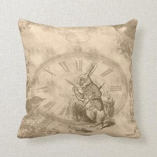 Vintage White Rabbit Collage Throw Pillow