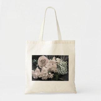 Vintage White Rose Budget Tote Bag