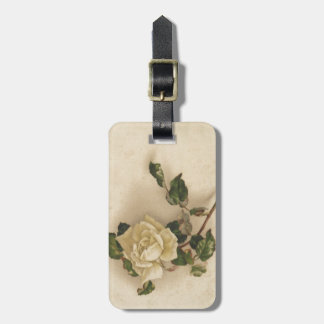 Vintage white rose tag for bags