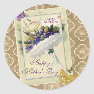 Vintage White Rose Purple Bouquet with Butterflies Classic Round Sticker