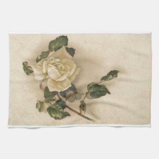 Vintage white rose tea towel