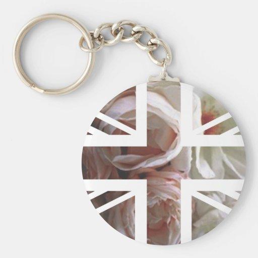Vintage White Rose Union Jack British(UK) Flag Keychain
