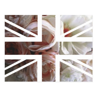 Vintage White Rose Union Jack British(UK) Flag Postcard