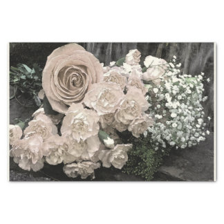 Vintage White Roses Carnations Baby Breath Tissue Paper
